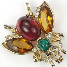 Trifari Sterling 'Alfred Philippe' Citrine Emerald and Ruby Cabochon Belly Bug Pin