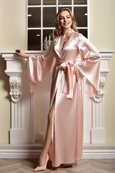 Rosa Satin, Satin Rose, Pink Satin, Pink Silk Robe, Green Satin, Lace Bridal Robe, Bridal Robes, Bridal Gown, Kimono Satin