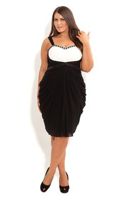 City Chic - CONTRAST CRYSTAL DRESS - Women's plus size fashion