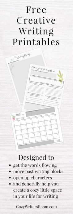 The Cozy Writer's Room sends a free creative writing printable for adults once a month. From writing prompts, to novel planners, these printables are designed to get the words flowing.