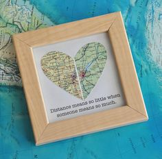 Gay Wedding Gift for Couple Map Heart Framed with Text by ekra