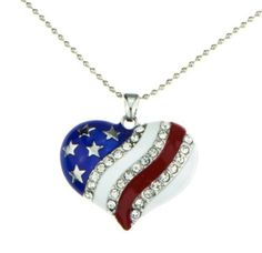 The Heartland Necklace is the perfect way to show your American pride! The gorgeous red, white and blue pendant is strung on a silver ball chain for durability. The heart shaped pendant features the A