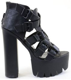 Strappy Buckle Open Toe Lug Platform Heels Black