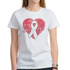 Lung Cancer Survivor Heart Women's T-Shirt by www.giftsforawareness.com.  #lungcancer #lungcancerawareness #lungcancershirts