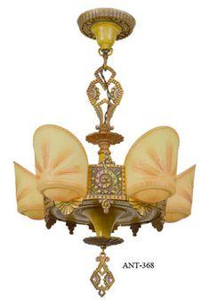 art deco slipper shade chandelier - Google Search