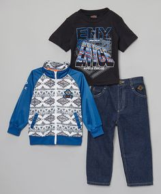 This Blue Geometric Jacket Set - Infant, Toddler & Boys by Enyce is perfect! #zulilyfinds