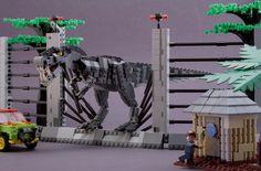 T-Rex encounter from Jurassic Park on LEGO Cuusoo Jurassic Park Trilogy, Lego Jurassic Park, Jurassic Park World, Lego Dinosaurus, Casa Lego, Lego Tv, Lego Custom Minifigures, Lego Videos, Lego Animals