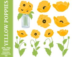 70% OFF SALE Digital Yellow Poppies Clip Art - Yellow, Green, Flowers, Mason Jar, Bouquet Clip Art #clipart #vector #illustration #thecreativemill