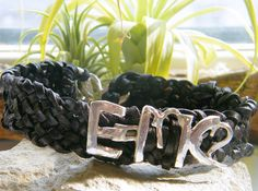 Chunky 925 St Silver Men's & Leather Bracelet  - E= mc2  #men #geekchic  #etsy #Einstein #silver #leather www.dormousedesigns.etsy.com