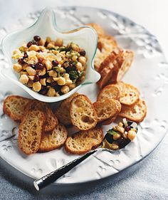 Chickpea and Mint Crostini | Recipes for party-worthy appetizers that take 20 minutes or less from start to finish.