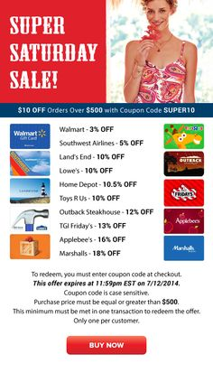Super Saturday Sale: Walmart 3% OFF, Lands End 10% OFF, Lowe's 10% OFF and More!