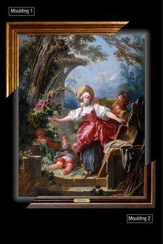 Canvas framed print, Blind-Man's Buff Jean-Honoré Fragonard, giclee canvas, gold framed, nameplate, Unique gift for husband