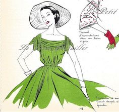 fashion sketches paris   Chartreuse Sleeve Fashion Details 1954 Paris Pochoir Couture Sketch