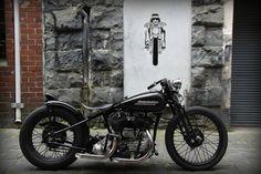 Bare bones Harley flathead bobber.