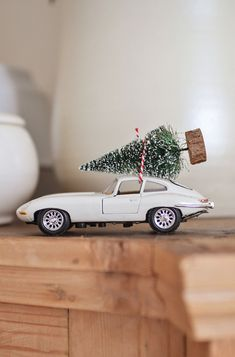 Cute ornament gift idea. Toy car of your choice, with miniature tree that you can get at any craft store. Tie on with thread.