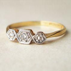 Art Deco Diamond Honeycomb Ring, 18k Gold & Platinum Geometric Diamond Ring, Antique Diamond Engagement Ring, Approximate Size US 6. $345.00, via Etsy.