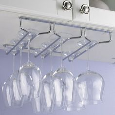 Stemware Rack that is designed to hang under cabinets and other shelving systems.  Good idea!