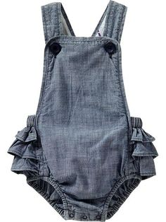 Chambray Ruffled-Romper Overalls for Baby   Old Navy