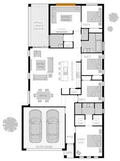 Arcadia One - Floor plan - The Arcadia is a carefully perfected, architecturally designed home that offers a beautiful and luxurious living experience on a narrow block.This flawless home captures privacy, functionality, sophistication and vibrant living throughout, offering an impressive living experience that will leave a smile on the face of every family member and visiting guest. #singlestorey #dreamhome #newhomes #homedesign #floorplan #mcdonaldjoneshomes