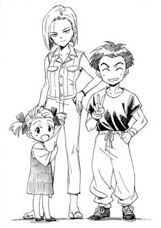 Krillin Marron and 18 so cute!