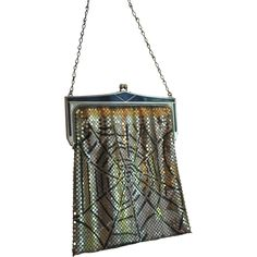 Vintage Halloween Theme Spider Web Whiting and Davis Mesh Purse...Perfect!