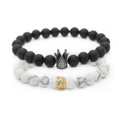2pcs//set roi lion Bracelet Charm Couronne Couple bracelets 5 sortes de pierres naturelles