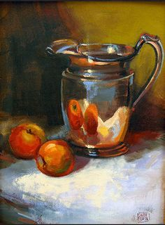 notice how the highlights are just one flick of white Apple Painting, Fruit Painting, Still Life Drawing, Still Life Oil Painting, Fruit Photography, Still Life Photography, Still Life Artists, Watercolor Paintings, Small Paintings
