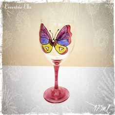 Hand Painted Butterfly Wine Glass by dawitchi on Etsy, £2.00