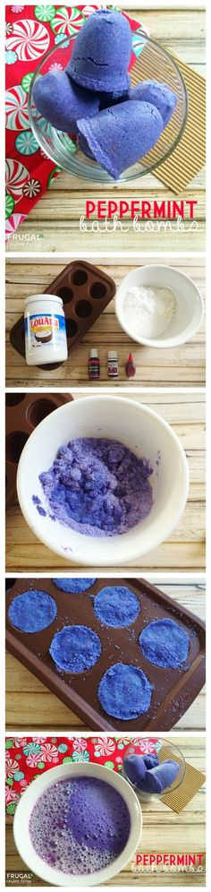 Essential Oils Homemade Gift - Peppermint Bath Bombs on Frugal Coupon Living. Easy Essential Oils Recipes, great Christmas Gift.