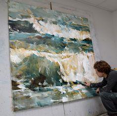 Dorus Brekelmans working on 'Ocean', 170 x 170 cm...