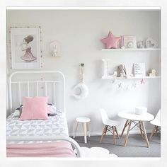"""@thedesignminimalist has created this beautiful bedroom featuring Kmart new Jasper cover set, dipped stool, bunny night light, table & chairs. ( Details…"""