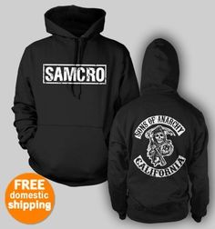 Sons Of Anarchy Hoodie pullover SAMCRO Redwood CA hooded sweatshirt black hoody    	$37.85 at TeesRus Bonanza