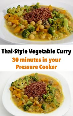 With a pressure cooker or Instant Pot, you could be enjoying this delicious vegan Thai vegetable curry in about 30 minutes.