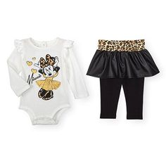 """Disney Baby Girls 2 Piece Minnie Mouse White Long Sleeve Bodysuit and Leopard Print Faux Leather Skirted Legging Set - Babies R Us - Babies """"R"""" Us Disney Baby Clothes, Cute Baby Clothes, Baby Disney, Baby Outfits, Kids Outfits, Cute Outfits, Baby Mouse, Minnie Mouse, White Long Sleeve Bodysuit"""