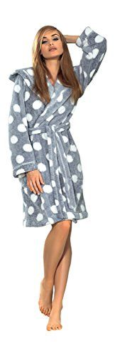 Women Polka Dot Bath Robe Dressing Gown Bathrobe Tie Belt and Hood -- Read more reviews of the product by visiting the link on the image.