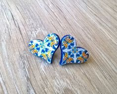 Portugal antique majolica tiles replica heart stud by XTory