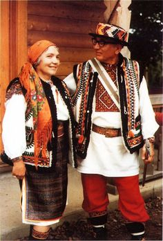 Costumes of Hutsuls (they are an ethno-cultural group of Ukrainian highlanders who for centuries have inhabited the Carpathian mountains, mainly in Ukraine, the northern extremity of Romania [in the areas of Bukovina and Maramureş]).