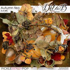 Autumn Tea, Autumn Leaves, Tree Leaves, All Paper, Tea Tree, Digital Scrapbooking, Kit, Shop, Flowers