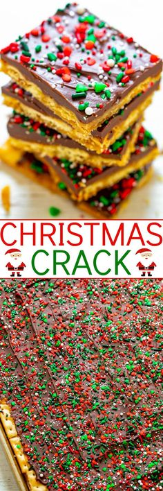 Christmas Crack – A highly addictive, salty-sweet, crunchy, EASY Christmas treat that's IRRESISTIBLE!! Great for gifts and cookie exchanges because it stays fresh and everyone LOVES IT!! Holiday Cookie Recipes, Candy Recipes, Holiday Baking, Christmas Baking, Dessert Recipes, Holiday Cookies, Easy Christmas Treats, Christmas Crack, Christmas Desserts