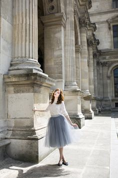 Miss Pandora wearing an Alexandra Grecco tulle skirt in Dusty Blue