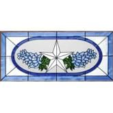 Lone Star & Bluebonnets Stained Glass Panel 9 x 20 - Window Decor Stained Glass Window Panels - West by Southwest Decor  Another pretty TEXAS window!
