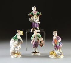 A GROUP OF FOUR MEISSEN POLYCHROME PAINTED FIGURES, BLU : Lot 192