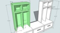 Lockers on each side, space in middle to hand higher hooks for adult's longer coats.