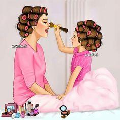 Este posibil ca imaginea să conţină: unul sau mai mulţi oameni Mother And Daughter Drawing, Mother Daughter Quotes, Mother Art, Mom Daughter, Mother And Child, Girly M, Girly Drawings, Kawaii Drawings, Cute Girl Drawing