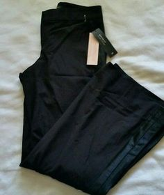 4b0d01a2789 0 petite 0P NWT Banana Republic stretch black Martin Fit Tuxedo stripe  Pants Tuxedo Stripe Pants