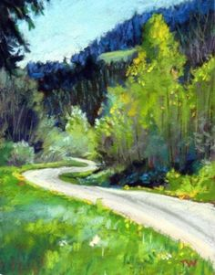 Winding Road - Framed pastel painting , painting by artist Takeyce Walter