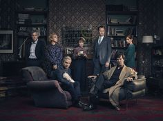 BBC Sherlock ~ new s4 cast promo: (L-R) Lestrade (Rupert Graves), Mary (Amanda Abbington), John (Martin Freeman) with baby girl Watson, Mrs. Hudson (Una Stubbs), Mycroft (Mark Gatiss), Sherlock (Benedict Cumberbatch), & Molly (Louise Brealey)