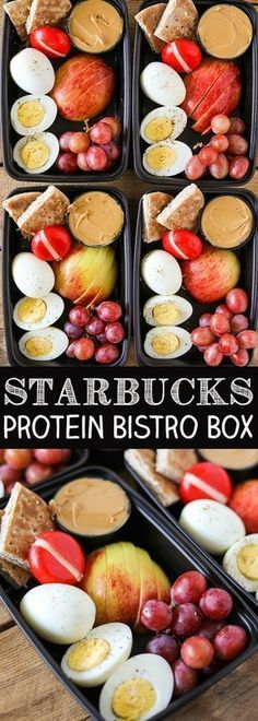 DIY Starbucks Protein Bistro Box - Easy Meal Prep! Food, easy recipes, quick recipes, easy dinner recipes, healthy dinner, healthy recipes, restaurant reviews, best new restaurants, food porn, cocktail recipes, summer cocktails, easy cocktails. #cocktailrecipes