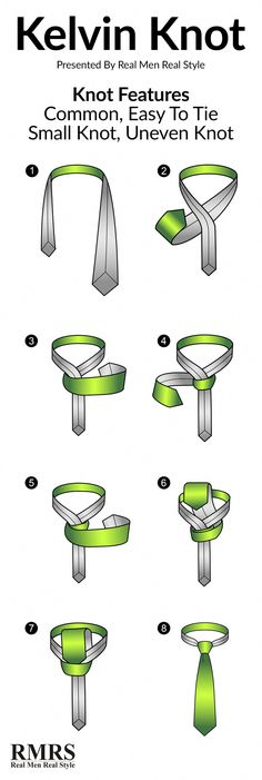 Do you know how to tie a Kelvin Knot? Real Men Real Style has an infographic and step by step instructions to make tying Kelvin knots simple. Tie A Necktie, Necktie Knots, Real Men Real Style, Windsor Knot, Style Masculin, Tie Styles, Dress Styles, Men Style Tips, Mens Fashion