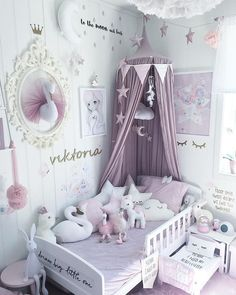 Cute Baby Girl Room Ideas (Adorable Space Ever Adorable Girl's bedroom decor, pale purple and white. -Adorable Girl's bedroom decor, pale purple and white. Baby Bedroom, Baby Room Decor, Nursery Room, Girls Bedroom, Nursery Ideas, Kid Bedrooms, Room Baby, Playroom Decor, Girl Bedroom Decorations